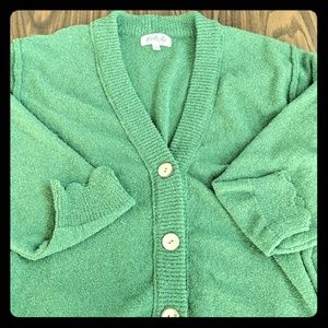 Listicle over-sized green cardigan